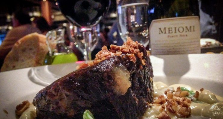 Via's Braised Short Ribs pair well with the Meiomi Pinot Noir.